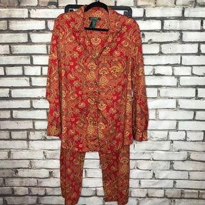 Lauren Ralph Lauren Paisley Cotton Pajamas XL